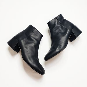 Vince Black Leather Ankle Boots